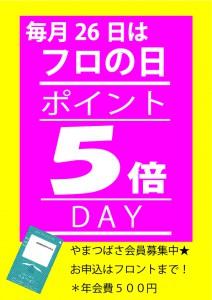 毎月26日はフロの日【ポイント5倍DAY】