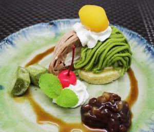 抹茶と柿渋のハーフモンブラン