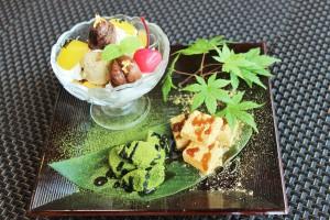 マロンジェラート&わらび餅